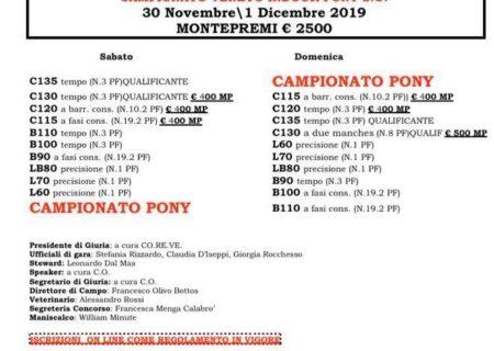 Concorso B* indoor € 2.500 + Campionato Regionale Pony S.O. 30 Novembre/1 Dicembre